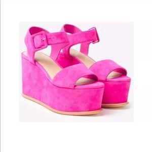 Loeffler Randal hot pink suede Alessa platforms